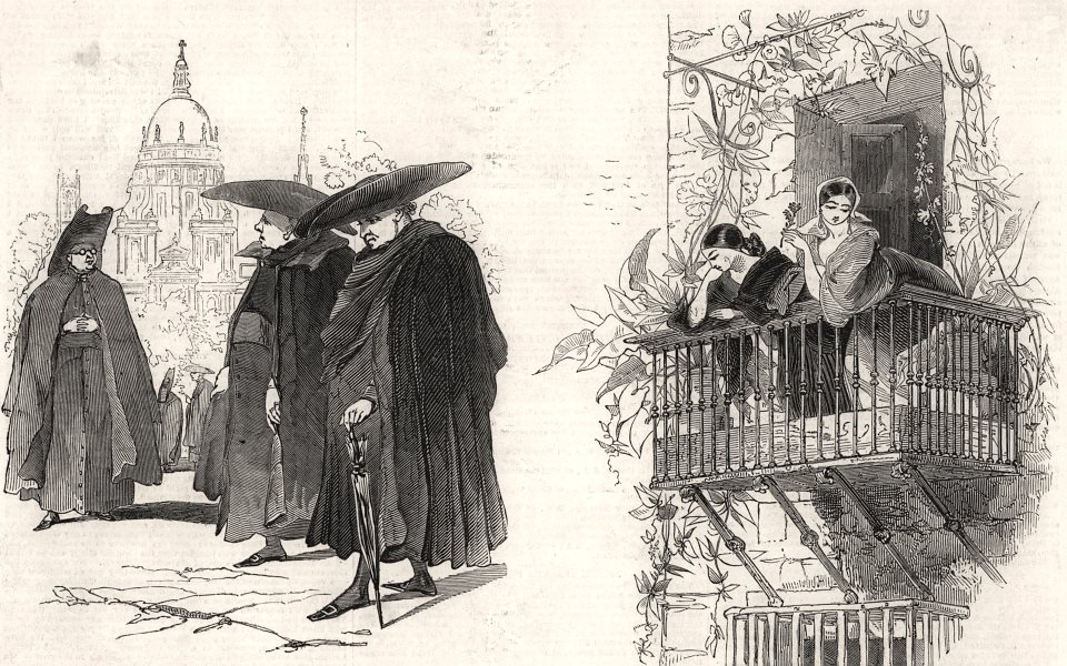 Associate Product Priests, at Madrid; Balcony scene, at Andalusia. Spain, antique print, 1845