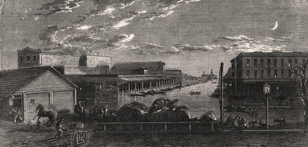 Associate Product Sacramento floods, California: Levee opposite K-Street, Sacramento City, 1862
