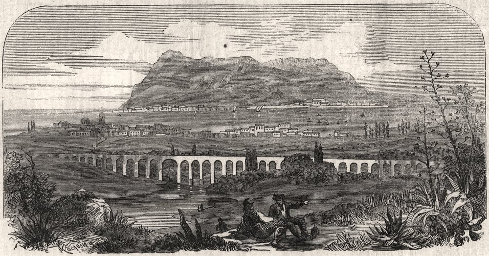 Associate Product Algeciras, with a distant view of Gibraltar. Spain, antique print, 1859