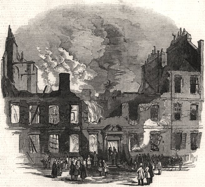 Associate Product Remains in New Square, Lincoln's Inn, after the recent fire. London, print, 1849