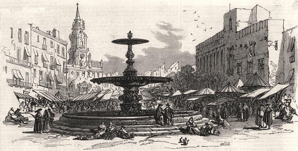 Associate Product Market-Place. Valencia, antique print, 1866