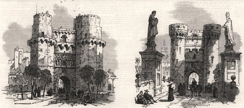 Associate Product Gate of Cuarte; gate of Serranos. Valencia, antique print, 1866