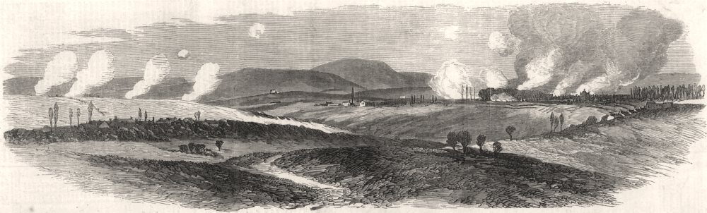 Associate Product The war: Prussian field batteries cannonading Phalsbourg. Moselle, print, 1870