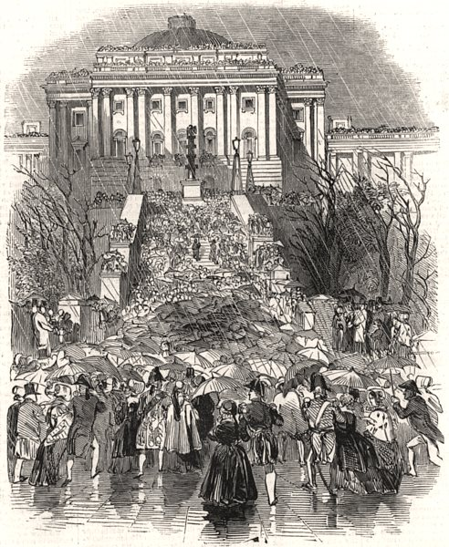 Associate Product Inauguration of President Polk - approach to the Capitol. Washington DC, 1845