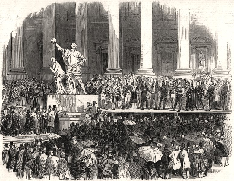 Associate Product Inauguration of President Polk - the oath. Washington DC, antique print, 1845