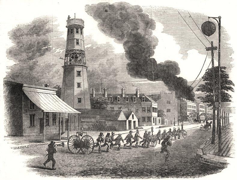 Associate Product Fire-Engine at Cincinnati, United States. Ohio, antique print, 1855