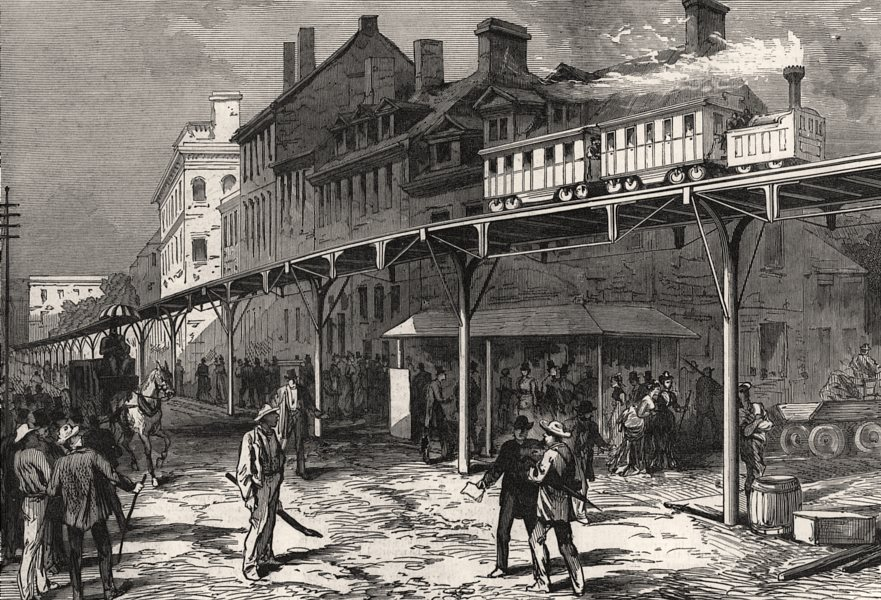 Associate Product A street railway in New York, antique print, 1876