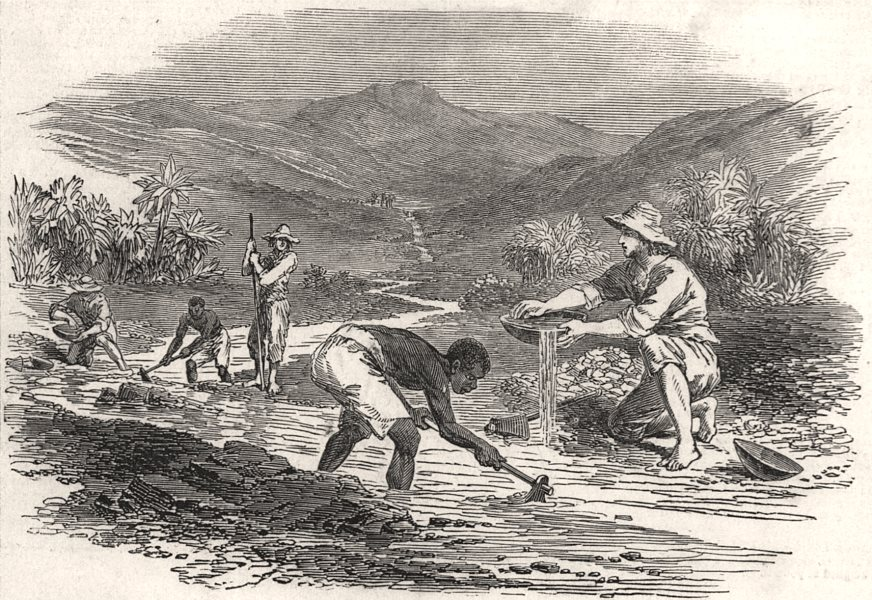 Associate Product Washing for gold. California, antique print, 1849