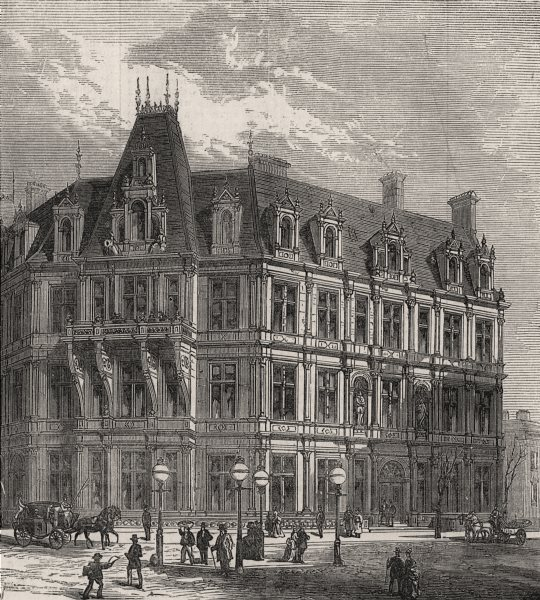 Associate Product St. Stephen's Club, Thames Embankment. London, antique print, 1875