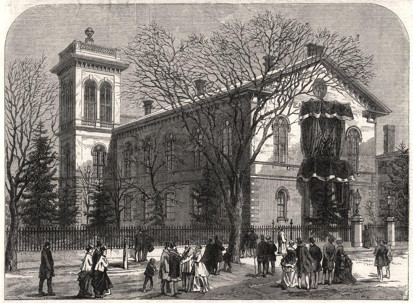 Associate Product The Peabody Institute, Peabody, Massachusetts, antique print, 1870