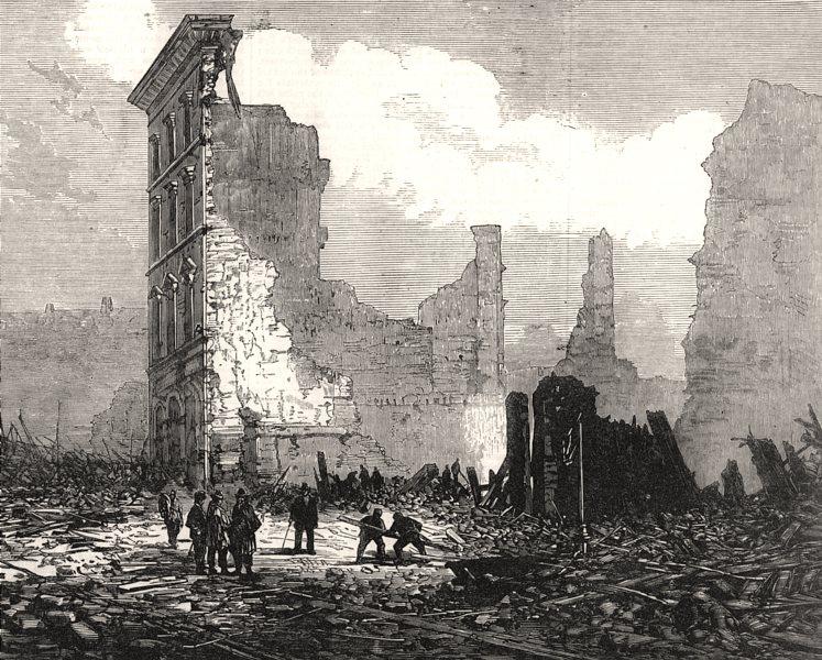 Associate Product Great Boston fire: Washington-Street, opposite Bromfield-St. Massachusetts, 1872