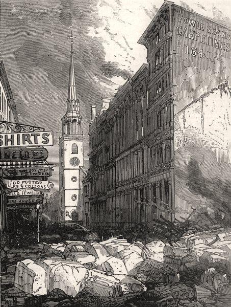 Associate Product Boston great fire: Washington-Street & the old South Church. Massachusetts, 1872