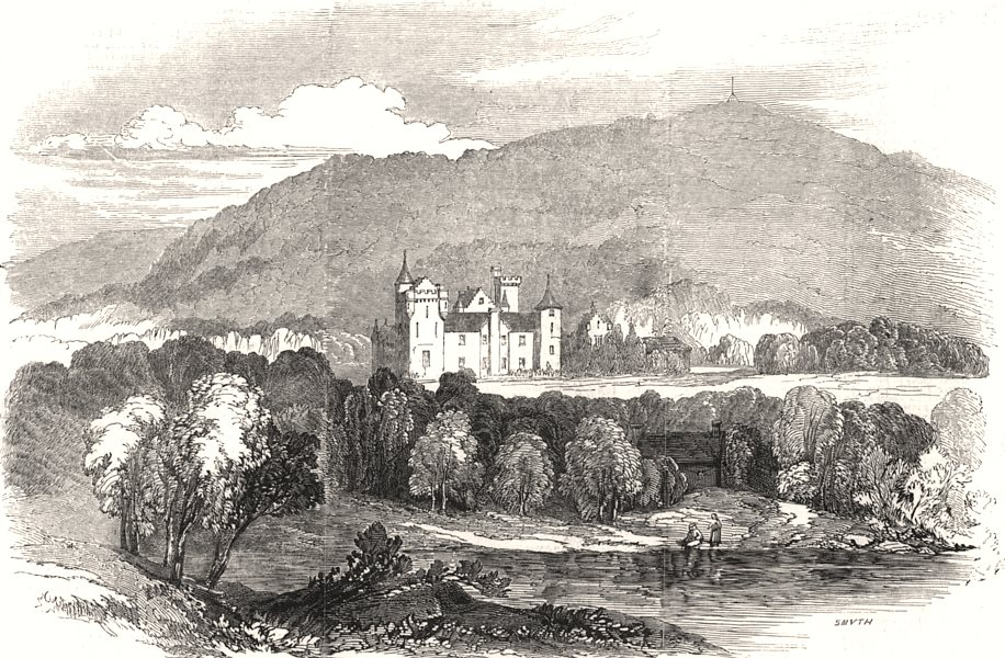 Associate Product Deeside: Balmoral Castle, from the north side of the Dee. Scotland, print, 1848