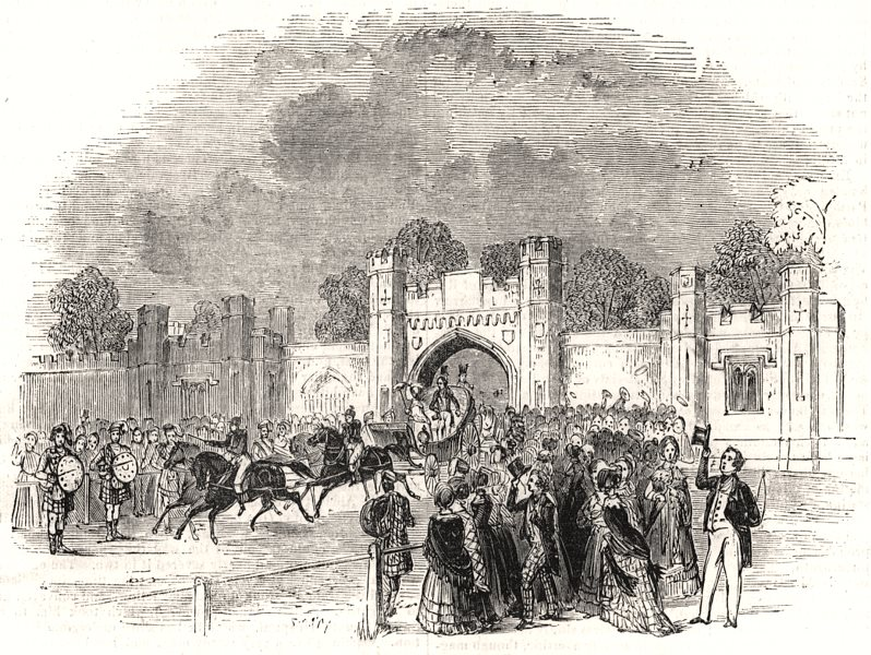 Associate Product The Queen leaving the Duchess Of Atholl's. Scotland, antique print, 1842