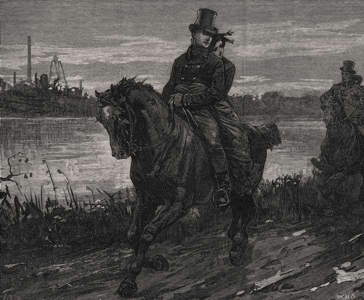 Associate Product George Stephenson & wife going home on their wedding day. Railways, print, 1881
