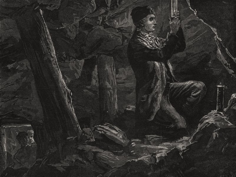 Associate Product George Stephenson experimenting with safety lamp in a mine. Northumberland, 1881