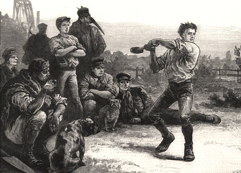 Associate Product George Stephenson, the Father of Railways: throwing the hammer, old print, 1881