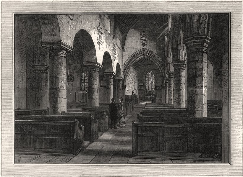 Associate Product Newburn Church, where George Stephenson was married. Northumberland, print, 1881