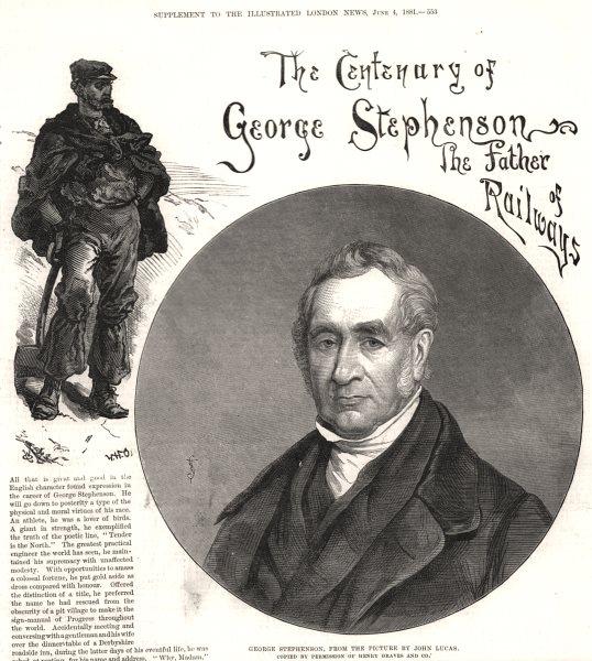 Associate Product George Stephenson, by John Lucas. Railways. Northumberland, antique print, 1881