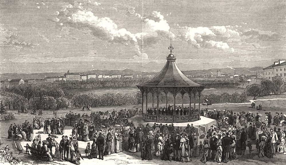 Associate Product View in the Leazes Park, Newcastle-on-Tyne, antique print, 1881