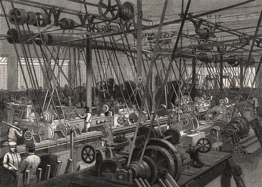 Associate Product Stephenson's Locomotive Factory at Newcastle-on-Tyne: lathe & tool shop, 1864