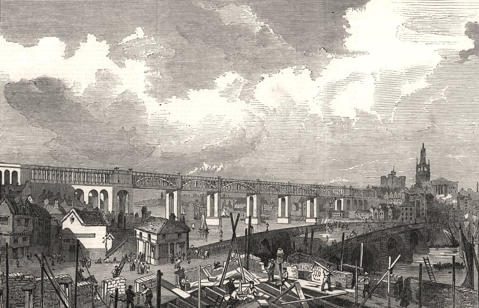 Associate Product The High Level Bridge, building at Newcastle. Northumberland, old print, 1847