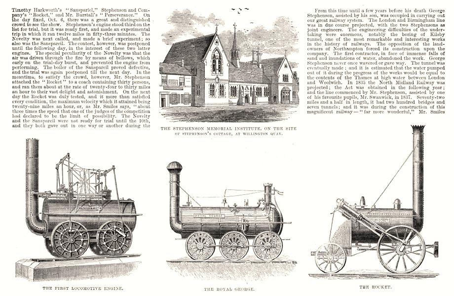 Associate Product George Stephenson, Father of Railways. Willington Quay Royal George Rocket, 1881