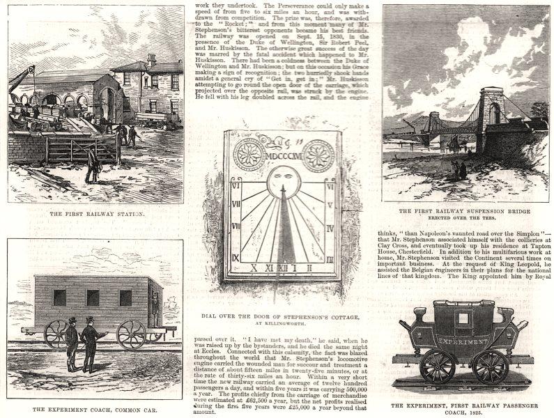 Associate Product George Stephenson. The first railway station, bridge & passenger coach, 1881