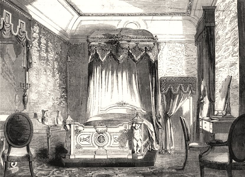 Associate Product The State bed-room, Buckingham Palace. London, antique print, 1855