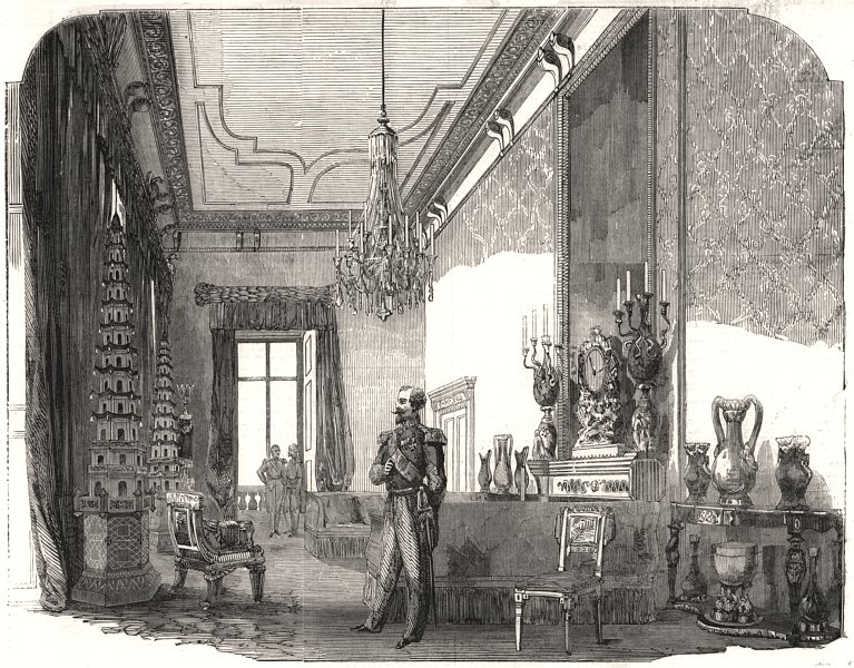 Associate Product The Emperor's drawing-room, Buckingham Palace. London, antique print, 1855