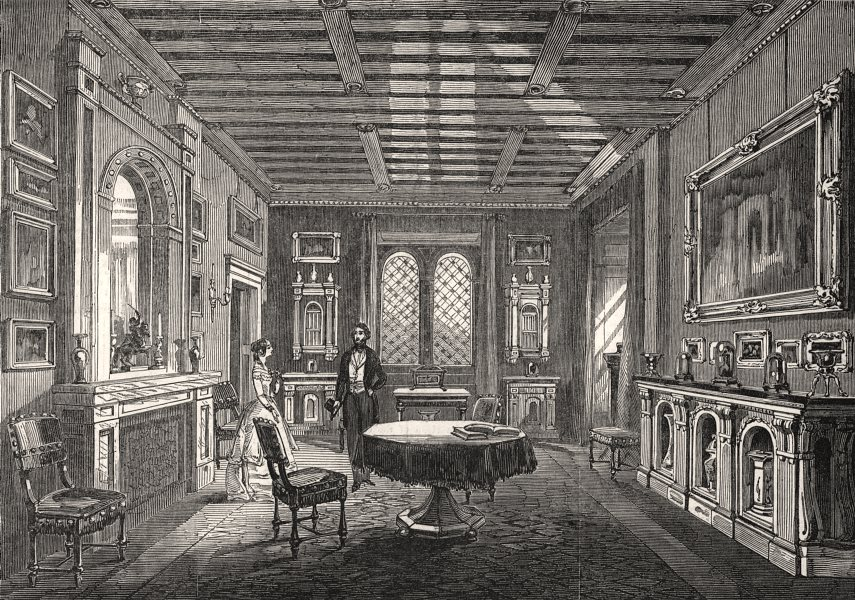 Associate Product Beckford's Tower: The Crimson drawing-room. Somerset, antique print, 1845