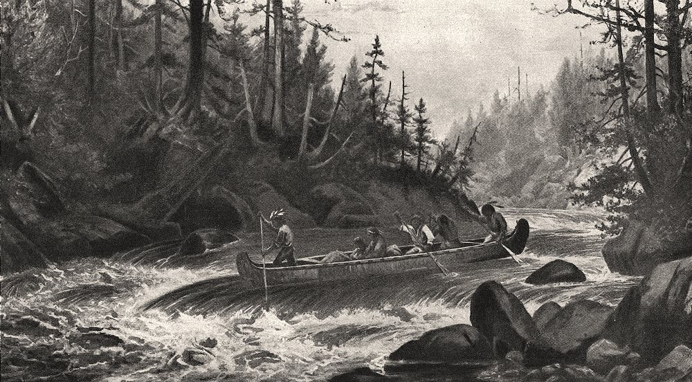 Associate Product Shooting the rapids. St Lawrence. Native American Indians in canoes, print, 1894