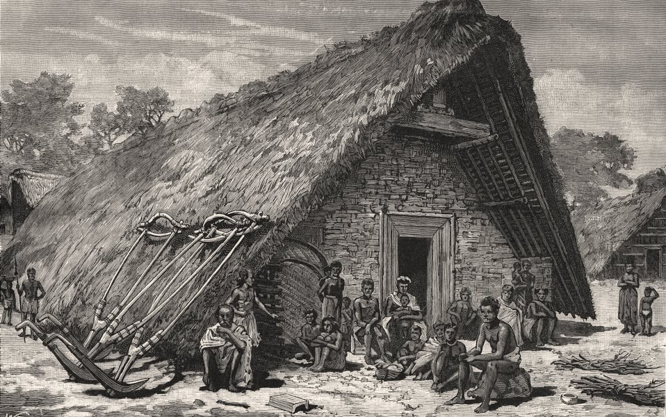 Associate Product A Naga house in Manipur. India, antique print, 1891