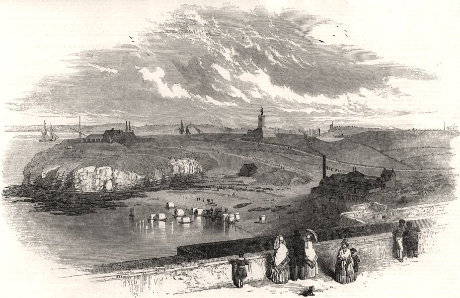Associate Product Tynemouth, Northumberland - the harbour, from the Priory, antique print, 1850