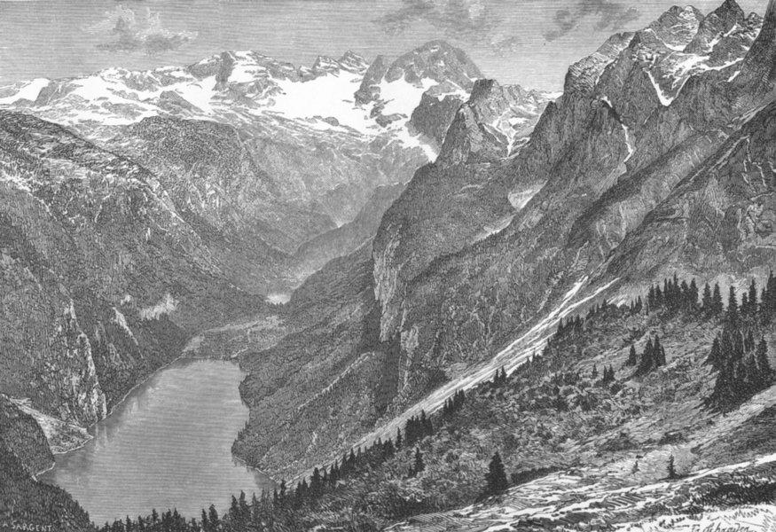 AUSTRIA. Dachstein & lake Gosau c1885 old antique vintage print picture