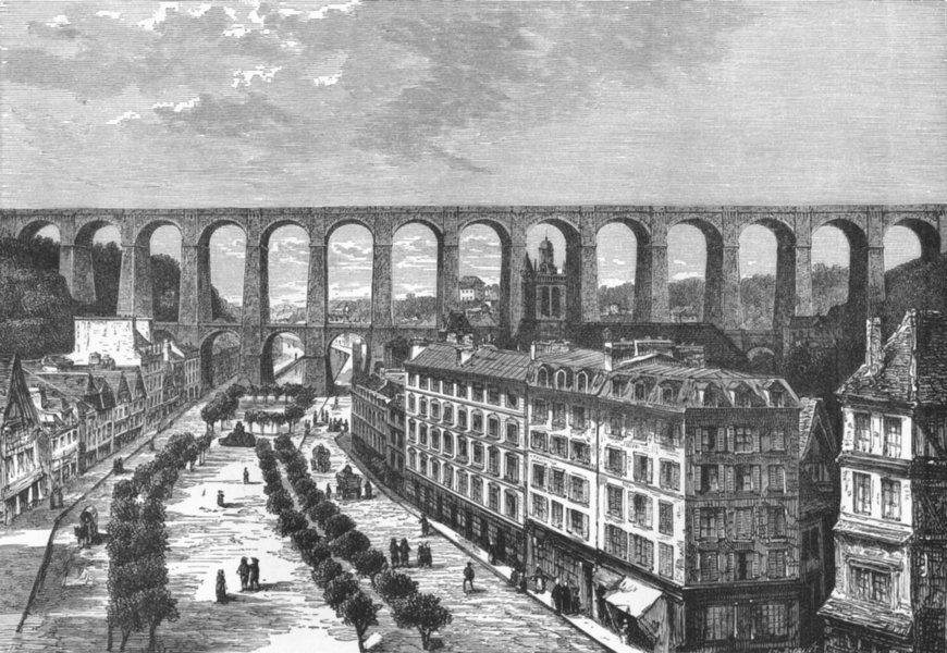BRITTANY. Viaduct of Morlaix c1885 old antique vintage print picture