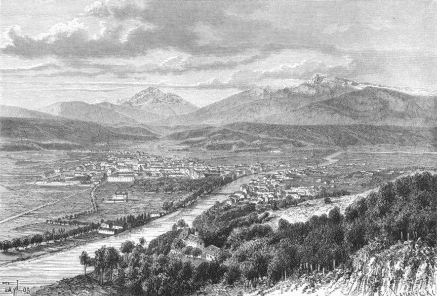 AUSTRIA. Innsbruck & Valley of Inn c1885 old antique vintage print picture