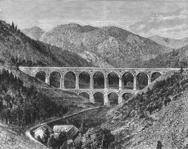 AUSTRIA. Viaduct of Kaltrinne, Semmering c1885 old antique print picture