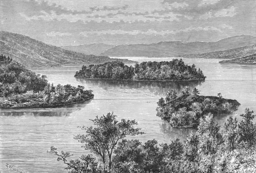 LOCH KATRINE. Ellen's Island, from Silver Strand c1885 old antique print