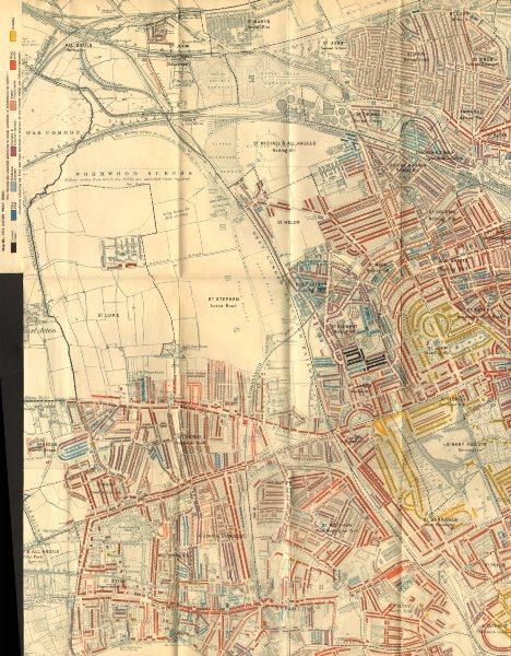 Associate Product BOOTH POVERTY MAP Notting Hill Hammersmith Holland Park W Kensington 1902