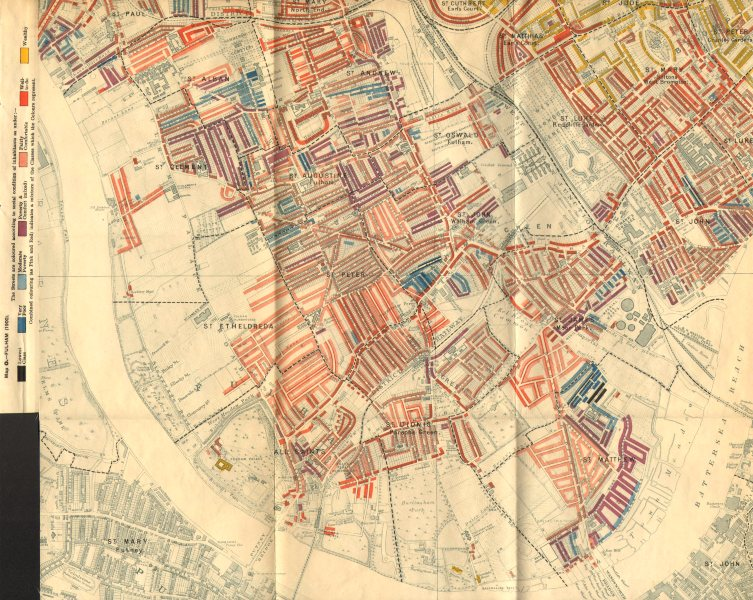 Associate Product FULHAM Booth Poverty Map Earl's Court West Brompton Chelsea S Kensington 1902