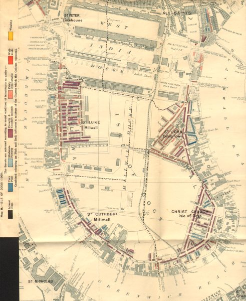 Associate Product ISLE OF DOGS Booth poverty map Canary Wharf West India Docks Milwall 1902