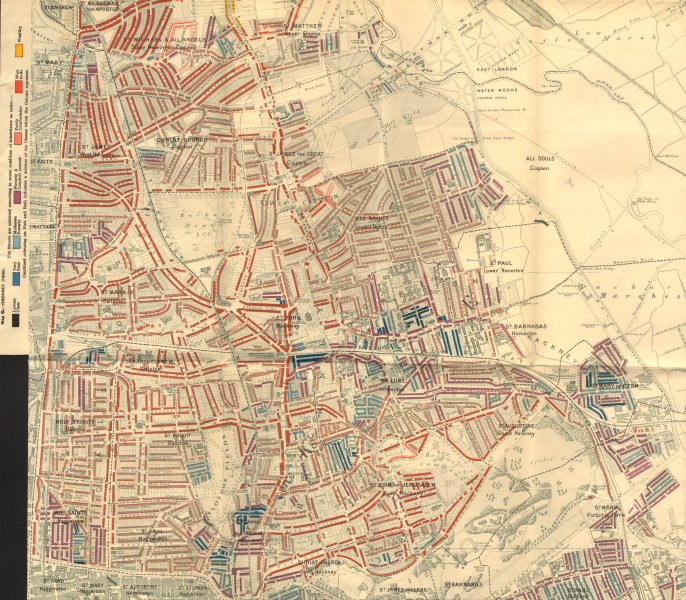 Associate Product HACKNEY Charles Booth poverty map Clapton Dalston Homerton London Fields 1902