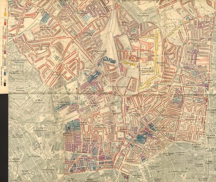 Associate Product ISLINGTON Charles Booth poverty map Barnsbury Highbury Holloway Tufnell Pk 1902