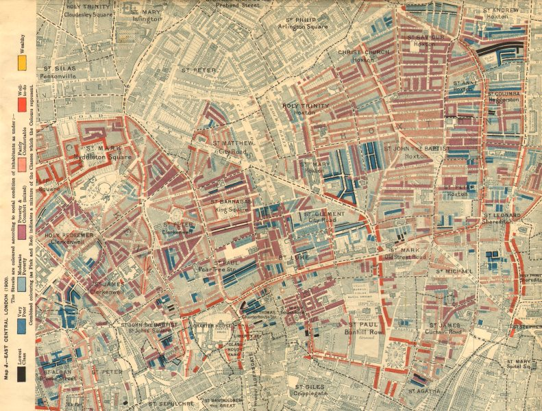Associate Product HOXTON CLERKENWELL Charles Booth poverty map Old Street St Luke's Finsbury 1902