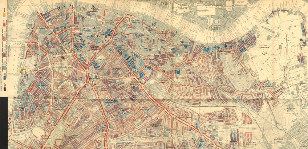 Associate Product S LONDON Charles Booth poverty map Bermondsey Lambeth Rotherhithe Borough 1902