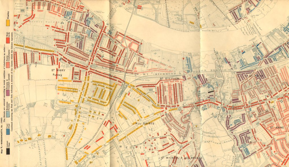 Associate Product WANDSWORTH / PUTNEY Charles Booth poverty map Hurlingham park West Hill 1902