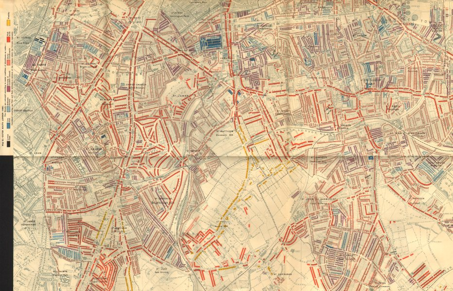 Associate Product SOUTHWARK Booth poverty map Dulwich Herne Hill Stockwell Peckham Brixton 1902