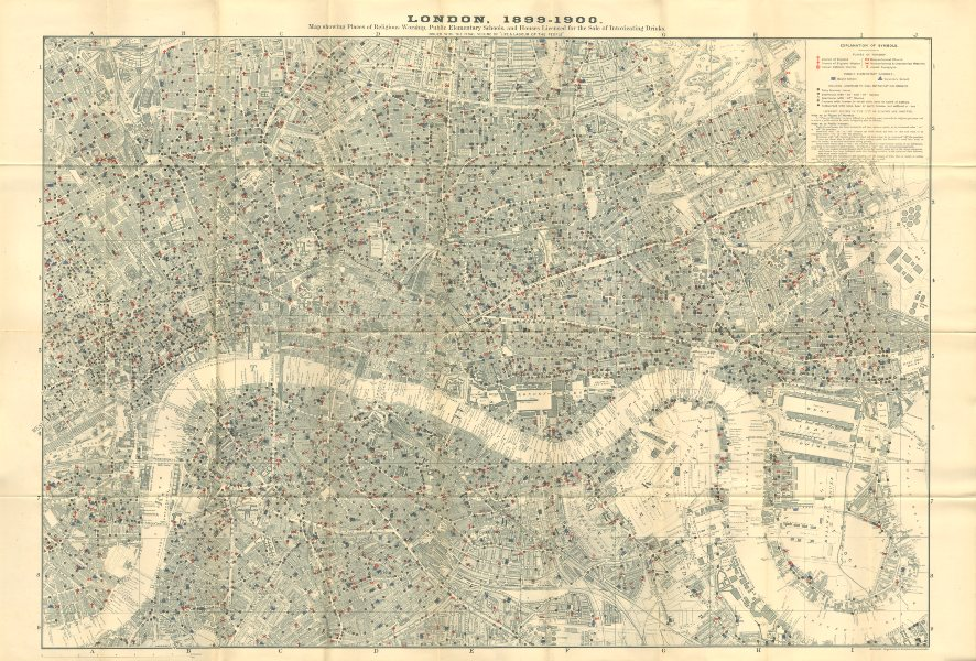 Associate Product CHARLES BOOTH LONDON MAP Pubs Restaurants Churches Schools Synagogues 1902
