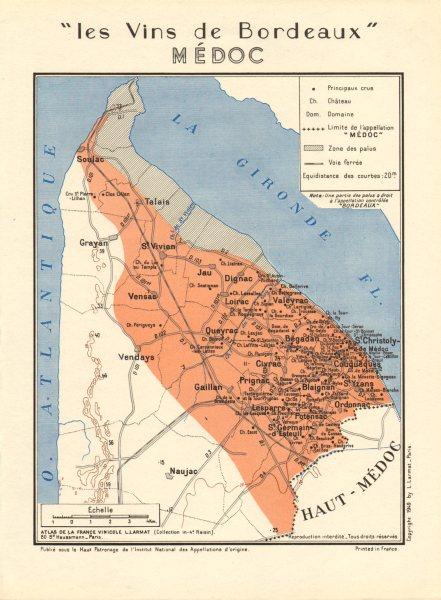 Associate Product BORDEAUX WINE. Les Vins de Bordeaux - Médoc. Larmat 1949 old vintage map chart